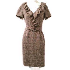 Kay Unger Brown Tweed Dress with Fringe